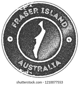 Fraser Island map vintage stamp. Retro style handmade label, badge or element for travel souvenirs. Dark grey rubber stamp with island map silhouette. Vector illustration.