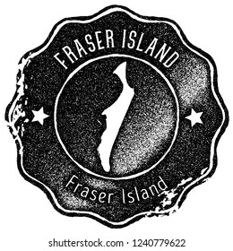 Fraser Island map vintage stamp. Retro style handmade label, badge or element for travel souvenirs. Black rubber stamp with island map silhouette. Vector illustration.