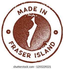 Fraser Island map vintage stamp. Retro style handmade label, badge or element for travel souvenirs. Red rubber stamp with island map silhouette. Vector illustration.