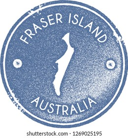 Fraser Island map vintage stamp. Retro style handmade label, badge or element for travel souvenirs. Light blue rubber stamp with island map silhouette. Vector illustration.