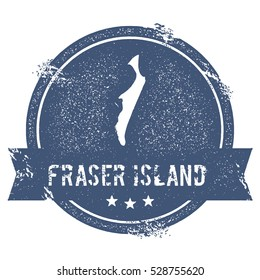 Fraser Island mark. Travel rubber stamp with the name and map of Fraser Island, vector illustration. Can be used as insignia, logotype, label, sticker or badge of island.