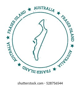 Fraser Island vector map. Retro vintage insignia with island map. Distressed travel stamp with Fraser Island text wrapped around a circle and stars. Fraser Island map vector illustration.