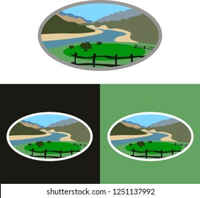 Fraser river valley British Columbia, Canada. Vector. Beautiful pasture on the banks of the river in the canyon surrounded by mountains.