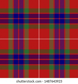 Fraser tartan plaid. Scottish pattern in red, green and blue cage. Scottish cage. Traditional Scottish checkered background. Clan Fraser. Seamless fabric texture. Vector illustration