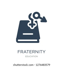 fraternity icon vector on white background, fraternity trendy filled icons from Education collection, fraternity vector illustration