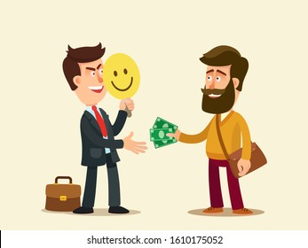 Fraudster extorts money from stranger. Fraud, extortion concept. Criminal person hides his face behind mask, impersonating another person. Vector illustration, cartoon style, isolated background.
