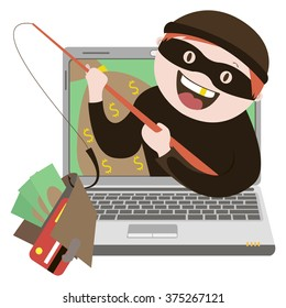 the fraudulent computer , internet thief vector graphics