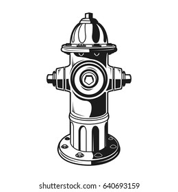 Fre hydrant on the white background, monochrome style, vector