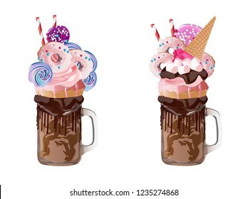 Freakshakes. Extreme milkshake. Isolated on a white background. Vector illustration.