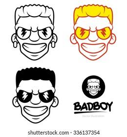 Freaky Bad Mad Boy Face Vector Icon Symbol Minimal Clip Art Illustration