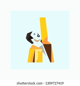 Freddie Mercury logo. Famous person. Vector illustration. EPS 10.