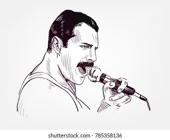 freddie mercury vector sketch illustration