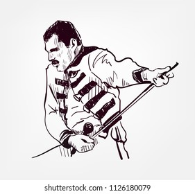 Freddie Mercury vector sketch portrait illustration