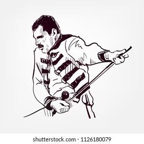 Freddie Mercury vector sketch portrait illustration