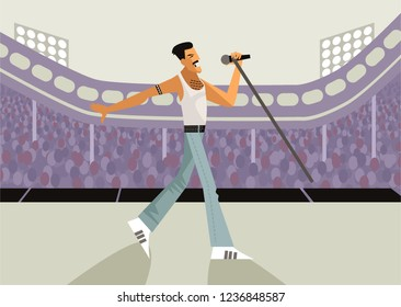 freddy mercury vocalist singing in stadium cartoon