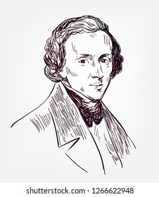 Frederic Chopin famous vector sketch portrait