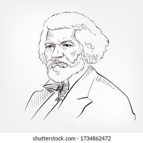 Frederick Douglass famous American social reformer, abolitionist, orator, writer, and statesman vector sketch portrait