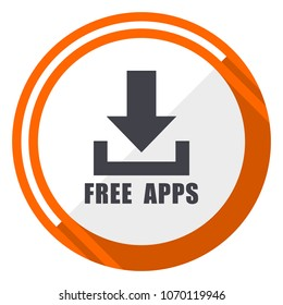 Free apps flat design orange round vector icon in eps 10