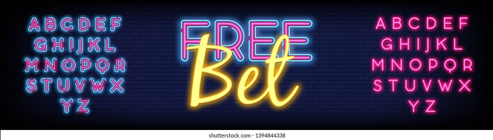 Free Bet Neon sign vector with a Brick Wall Background. Light banner  bright night neon sign on the topic of betting  gambling. Vector Illustration. Editing Text Neon Signs