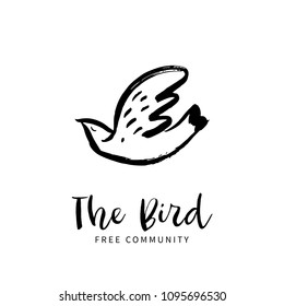 Free bird. Hand sketched bird logo. Black cut silhouette on a white background. Hand drawn design elements. Vector illustration.