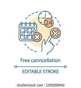Free cancellation concept icon. Hotel booking online. Deposit back refund. Rejection, delete button. Yes and no click. Cancel reservation idea. Vector isolated outline drawing. Editable stroke