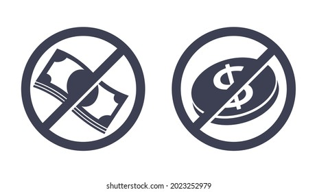 Free of charge icon, gratis, unpaid service or product - crossed out money bank note and coin - isolated pictogram