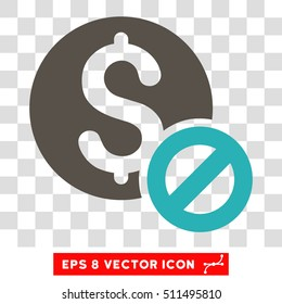 Free of Charge vector icon. Image style is a flat grey and cyan iconic symbol.