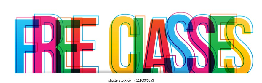 Free classes colorful letters vector icon.