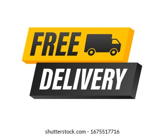 Free delivery. Badge with truck. Vector stock illustrtaion.