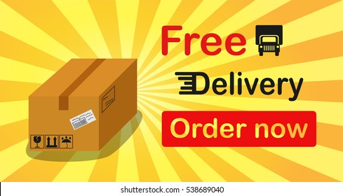 Free delivery banner box with sun rise background.