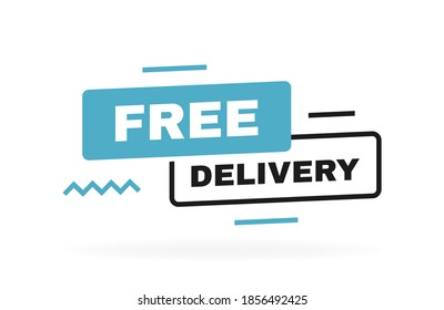 Free delivery banner design with geometric elements. Banner template design for shipping, delivery and moving company. Vector illustration.