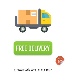 Free delivery button with truck. Free delivery vector isolated icon