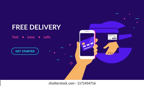 Free delivery for clients how pay by credit card via mobile app. Flat vector neon website template and landing page design of human hand holds smart phone and paying online by card using ecommerce app