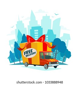 Free delivery concept. Delivery truck with gift box, parcel. Delivery service Shipping by car or truck. Flat style design truck on Urban landscape. Blue city silhouette background. Vector illustration