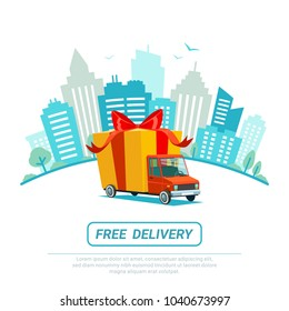 Free delivery concept. Delivery truck with gift box, parcel. Delivery service Shipping by car or truck. Flat style design truck on Urban city scape. Blue city silhouette background. Vector