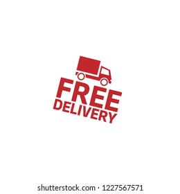 free delivery emblem, label, badge, logo, seal. label with truck