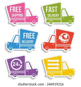 Free delivery, fast delivery, free shipping, around the world, around the clock colorful logo icons set with blend shadows on white background. Vector.