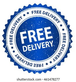 Free delivery grunge blue rubber seal / stamp on white background