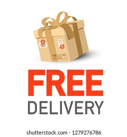 Free Delivery Icon with Parcel