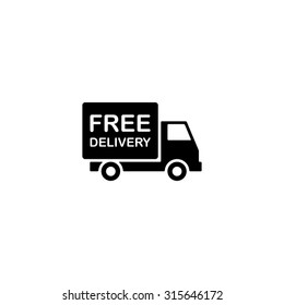 free delivery icon, shipping truck isolated on white background. vector illustration