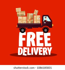Free Delivery Icon with Truck and Parcels, Vector Shipping Symbol.