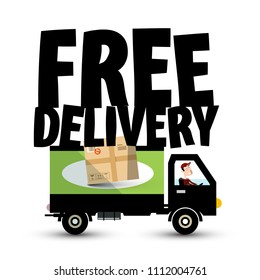 Free Delivery Icon with Truck - Van Car. Vector Transport Service Symbol with Package.
