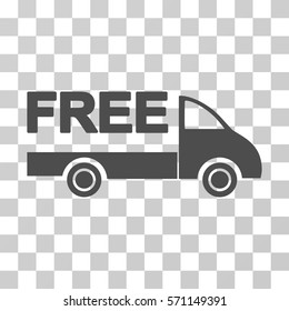 Free Delivery icon. Vector illustration style is flat iconic symbol, gray color, transparent background. Designed for web and software interfaces.