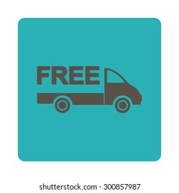 Free delivery icon. Vector style is grey and cyan colors, flat rounded square button on a white background.