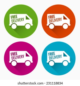 Free delivery labels with long shadow