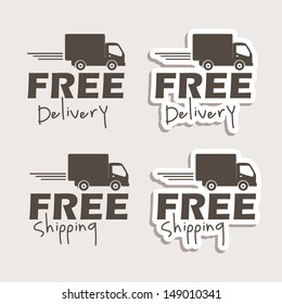 free delivery labels over gray background vector illustration