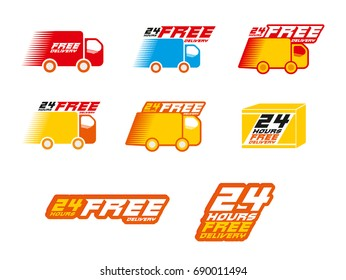 Free Delivery Logos. llustration of icons shipments and free delivery, vector illustration