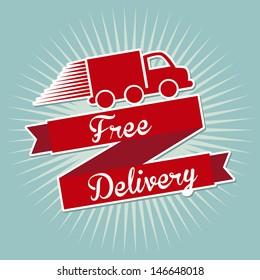 free delivery over blue background vector illustration