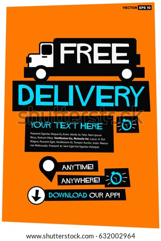 free delivery poster truck text box stock vector royalty free