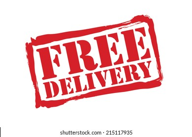 FREE DELIVERY red rubber stamp vector over a white background.